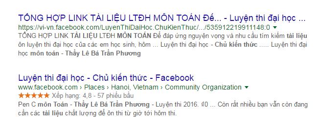seo bai viet trong fanpage tren google 01