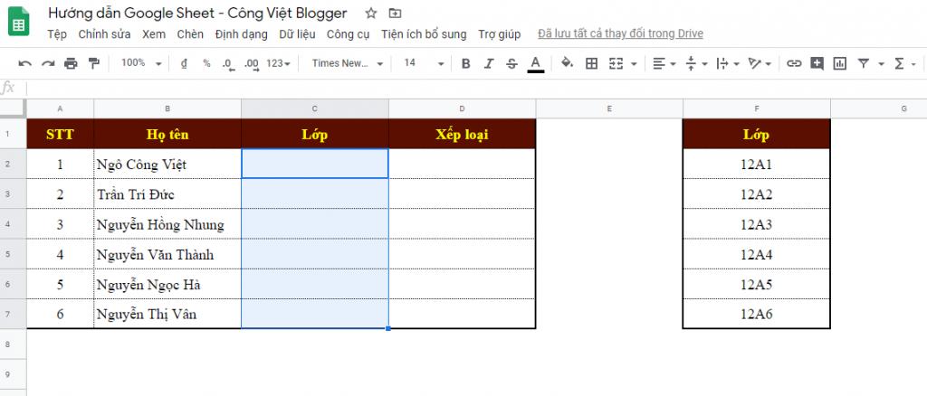 Hướng dẫn tạo danh sách thả xuống (Drop-List) trong Google Sheets