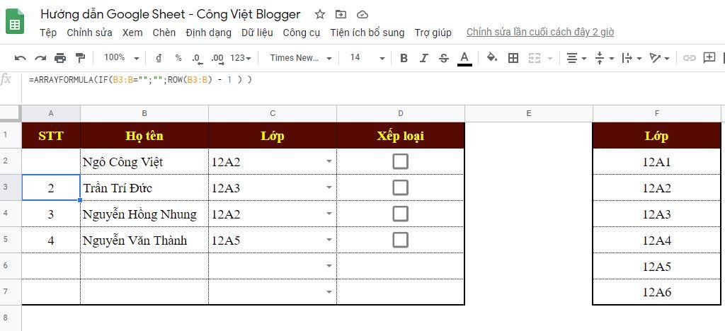 Hướng dẫn đánh số thứ tự tự động trên Google Sheet 4
