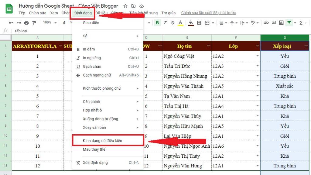 Bài 3 – Hướng Dẫn Tự Động Tô Màu Dữ Liệu Trùng Nhau – Google Sheet Thực Hành