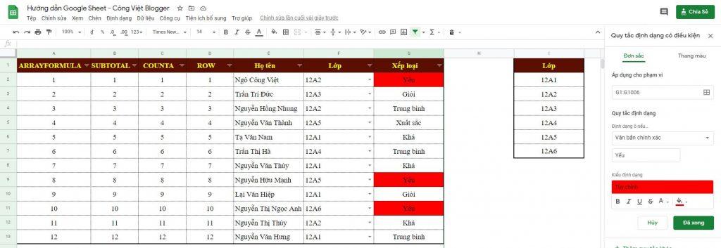 Bài 3 – Hướng Dẫn Tự Động Tô Màu Dữ Liệu Trùng Nhau – Google Sheet Thực Hành - 04
