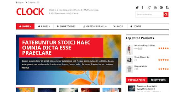Clock là một tạp chí và chủ đề WooCommerce WordPress