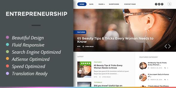 Entrepreneurship là một chủ đề tạp chí WordPress