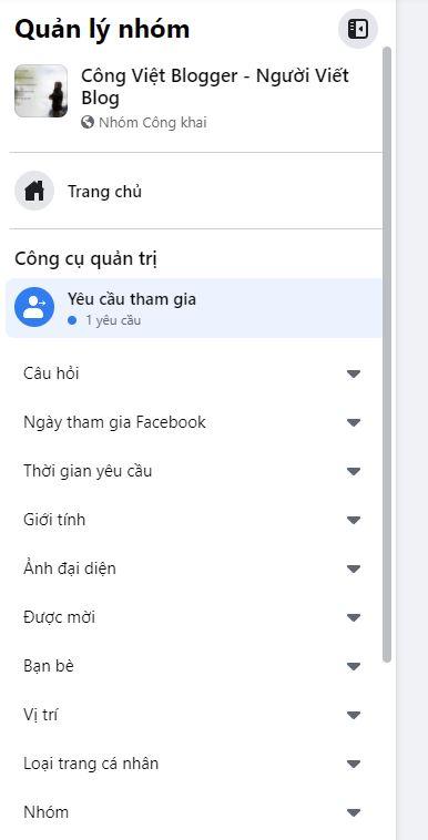 Hướng dẫn lọc Yêu cầu tham gia Nhóm Facebook để phê duyệt thành viên