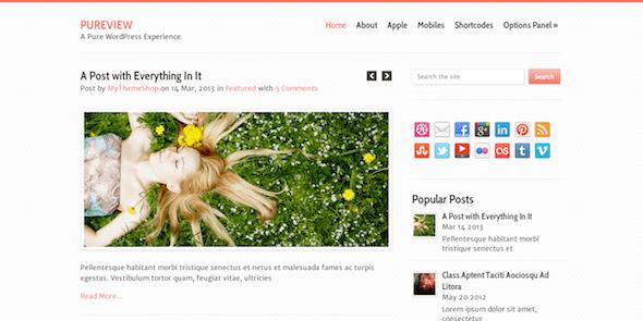 Pureview là một theme WordPress nhẹ