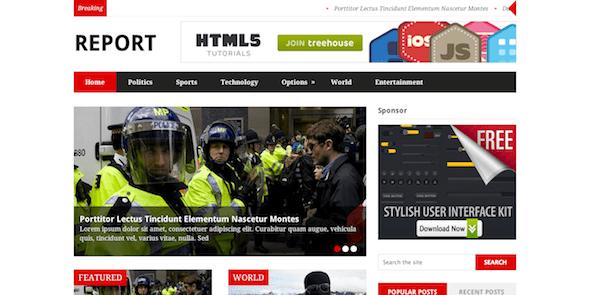 Report là một chủ đề WordPress có bố cục tin tức hợp thời trang