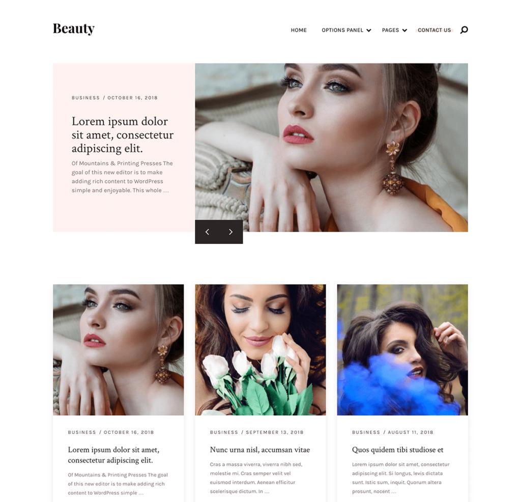 Chủ đề Beauty cung cấp sự kết hợp hoàn hảo giữa các tính năng độc đáo