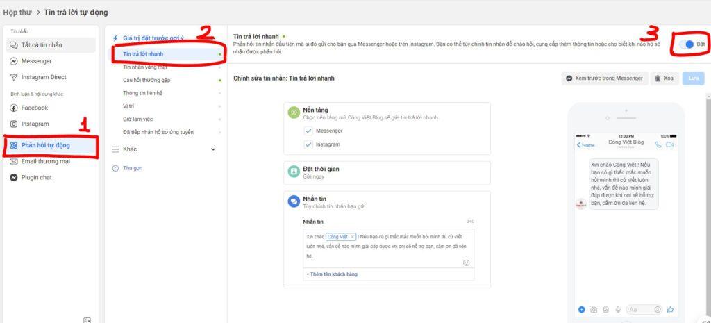Hướng dẫn bật tin nhắn Trả Lời Nhanh khi khách inbox trên Fanpage